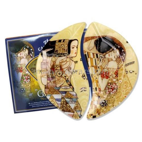 H.C.198-7023 Üvegtányér szett 2 részes 21x12cm,Klimt:The Kiss,Várakozás