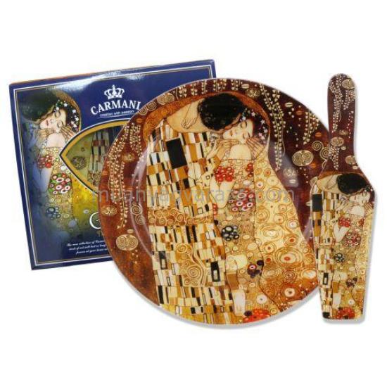 H.C.198-8071 Üveg tortatál lapáttal 27cm,Klimt:The Kiss