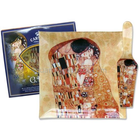 H.C.198-8081 Üveg süteményes kínáló 25x25cm, lapáttal, Klimt:The Kiss