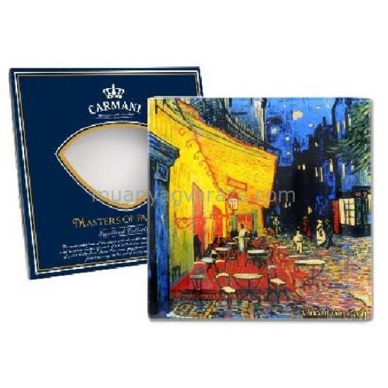 H.C.198-7309 Üvegtányér 13x13cm,Van Gogh:Kávéház éjjel