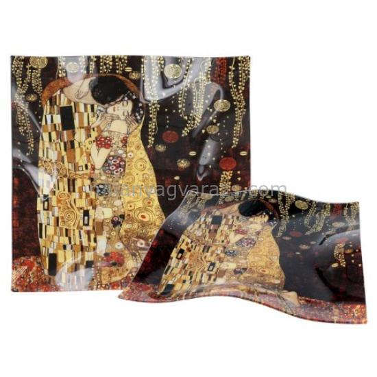 H.C.198-1501 Üvegtányér hullámos 30x30cm, Klimt : The Kiss