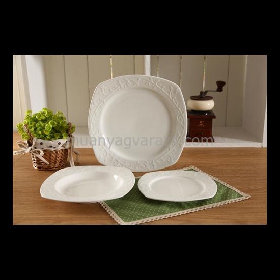 D.G.14559 Porcelán étkészlet 18db-os,6 személyes,24,5cm/20cm/18,5cm,szögletes,Hemingway