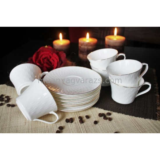 D.G.Y2-6FS220-RODOS Porcelán csésze+alj,6 személyes dobozban,220ml,Rodos