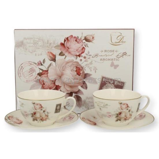D.G.17710-SECESJA Porcelán teáscsésze+alj 200ml, 2 személyes, dobozban, Secesja
