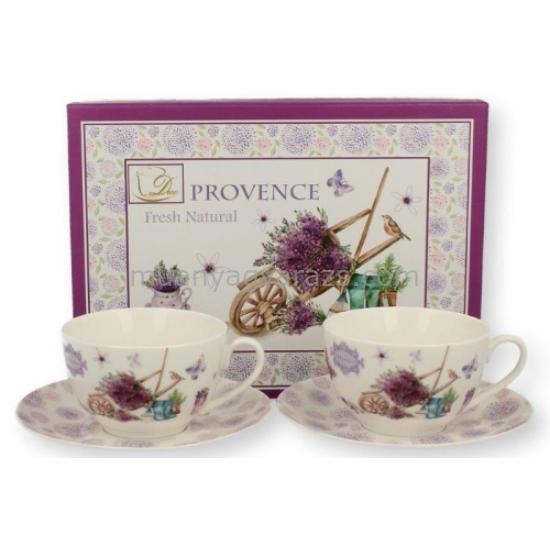 D.G.17734-PROWANSJA Porcelán teáscsésze+alj 200ml, 2 személyes, dobozban, Prowansja