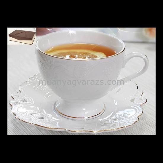 V.B.13675 Dominika porcelán csésze+alj 220ml,6 személyes, dobozban