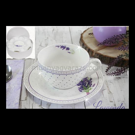 V.B.13798 Lawenda porcelán csésze+alj 250ml,6 személyes, dobozban