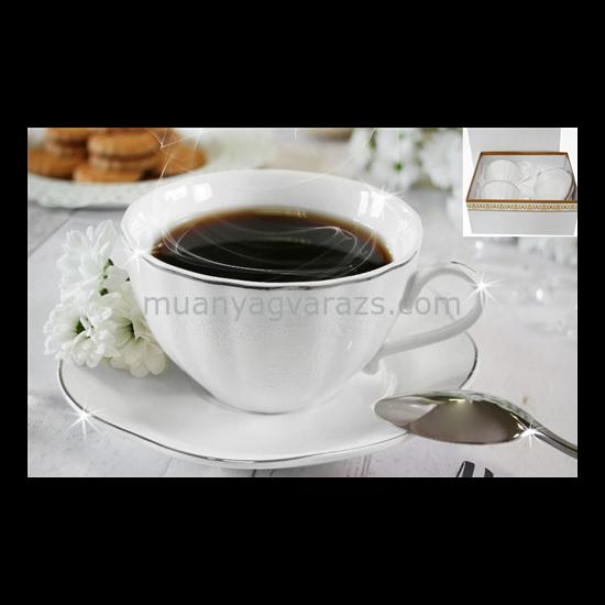 V.B.15518 Alis porcelán csésze+alj 220ml,2 személyes, dobozban