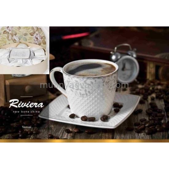 V.B.15969 Riviera porcelán csésze+alj,220ml,6 személyes,dobozban