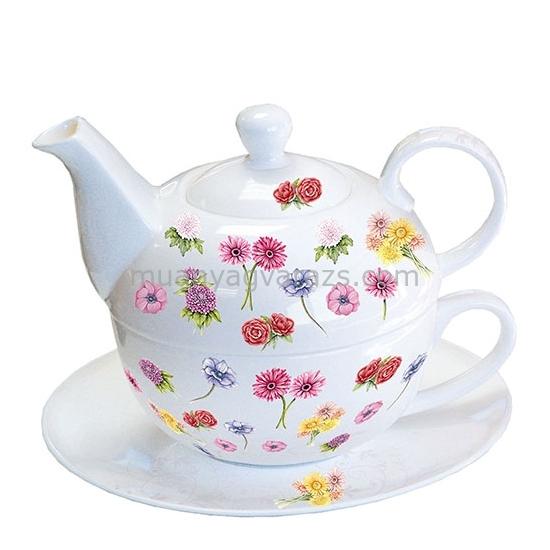 AMB.18109985 Flower Festival porcelán egyszemélyes teás + alj 0,3l