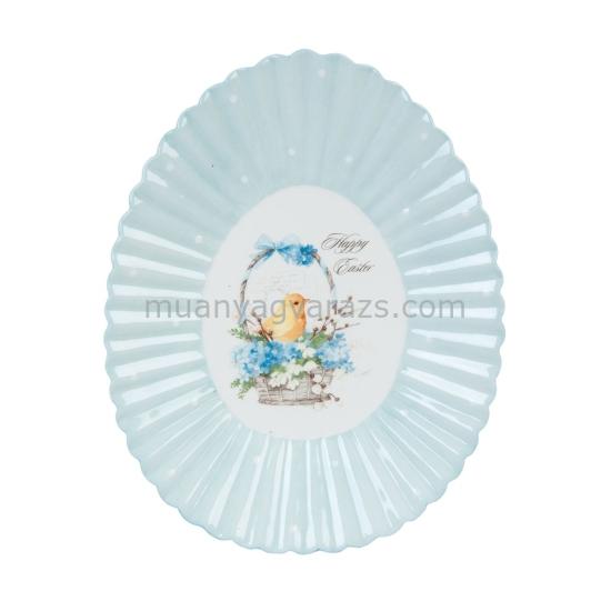 CLEEF.6CE0630 Kerámia kínáló tál tojás alalkú 23x18x3cm,csibés mintával