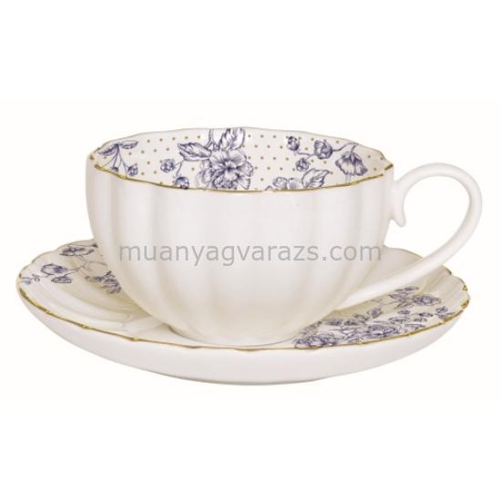 R2S.1282BLUP Porcelán teáscsésze aljjal 200ml, dobozban, Blue Peonies