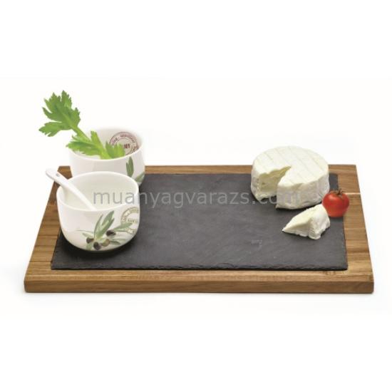 R2S.997OFR Fa vágólap 2 porcelán tálkával porcelánkanállal,Olive Fragrances