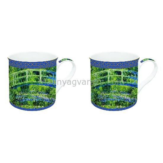 R2S.171MON1 Porcelán bögreszett 2db-os dobozban, 300ml,Monet: Vizililiom és a Japán híd