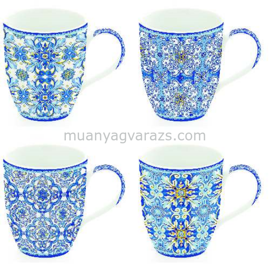 R2S.913MAIB Porcelán bögreszett 350ml, 4db-os dobozban, Maiolica Blue