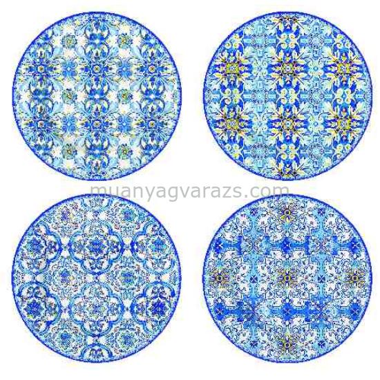 R2S.924MAIB Porcelán desszerttányér szett 4db-os, 19cm dobozban, Maiolica Blue