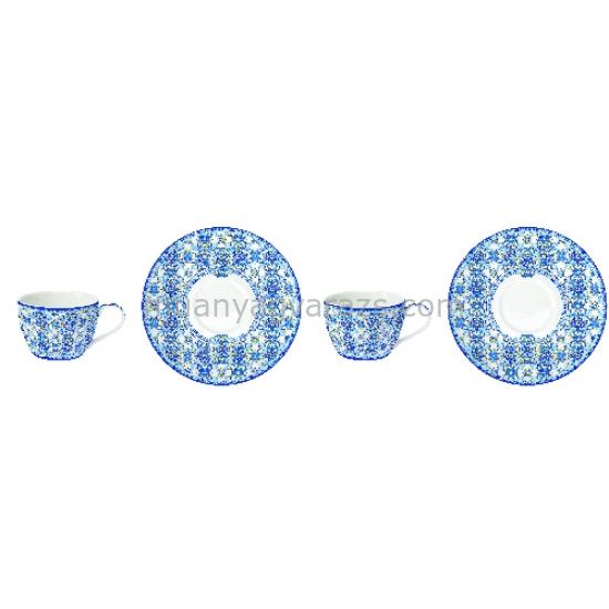 R2S.921MAIB Porcelán espresso csésze + alj 2 személyes, 110ml, dobozban, Maiolica Blue