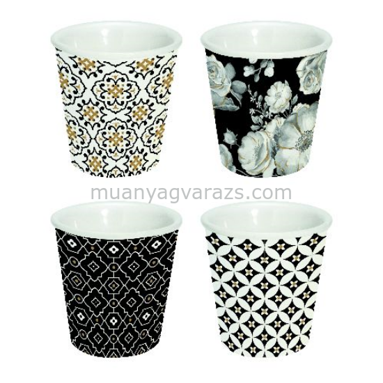 R2S.176TCBL Espresso porcelán pohár szett 4db-os 80ml, dobozban, Trend & Colours Black