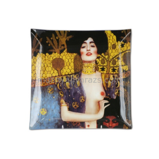 """H.C.198-1610 Üvegtányér 13x13cm """"Klimt:Judith"""""""