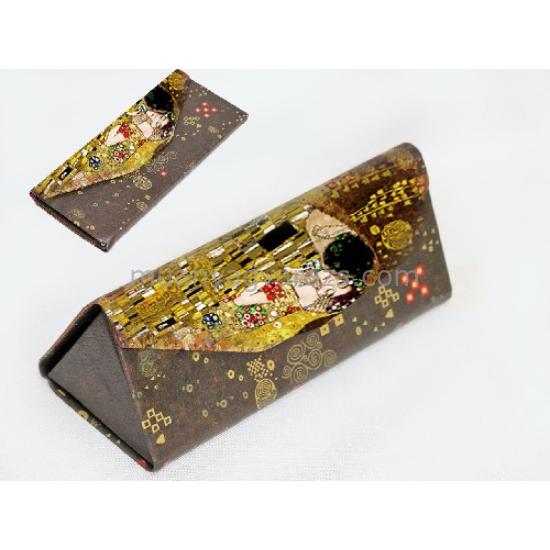 H.C.532-9995 Szemüvegtartó 16x7x6cm,összehajtható,Klimt:The Kiss