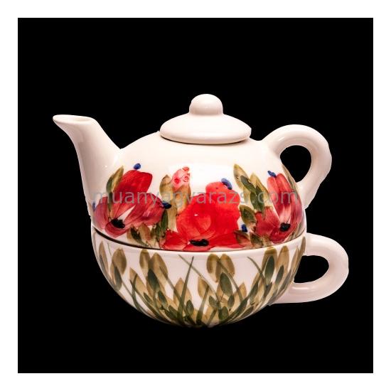 V.K.43-17 Tele virágos egyszemélyes teás,pipacs,kerámia,kézzel festett
