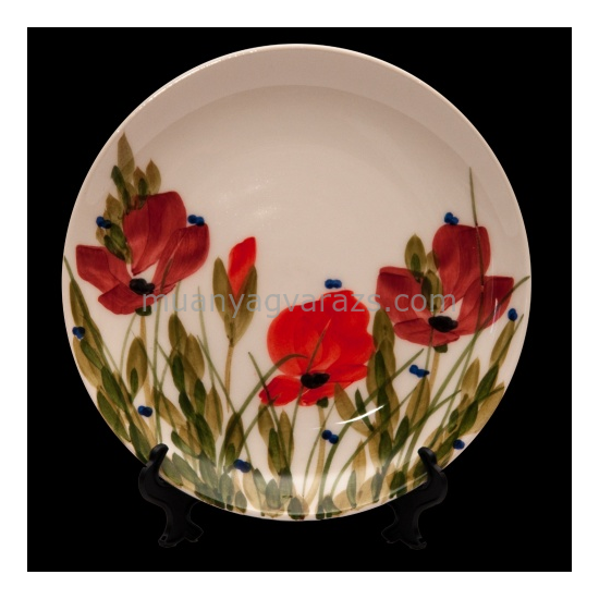 V.K.43-10 Tele virágos nagyitányér,pipacs,kerámia,kézzel festett
