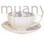 Kép 1/2 - R2S.1282BLUP Porcelán teáscsésze aljjal 200ml, dobozban, Blue Peonies